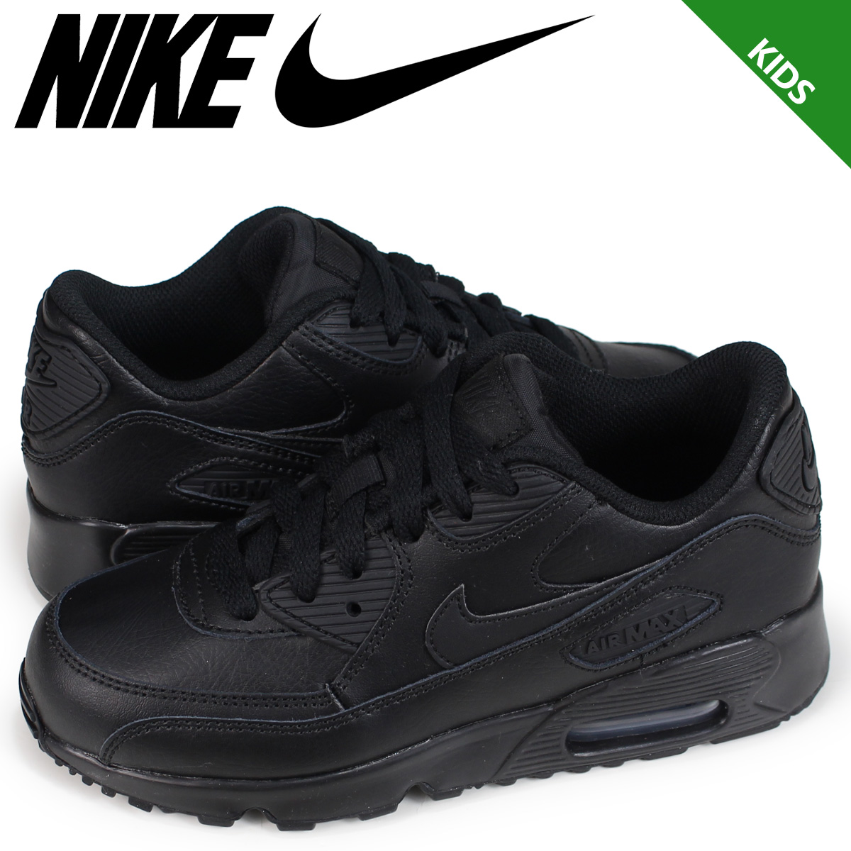 NIKE AIR MAX 90 LEATHER PS Kie Ney AMAX 90 kids sneakers 833,414 001 black