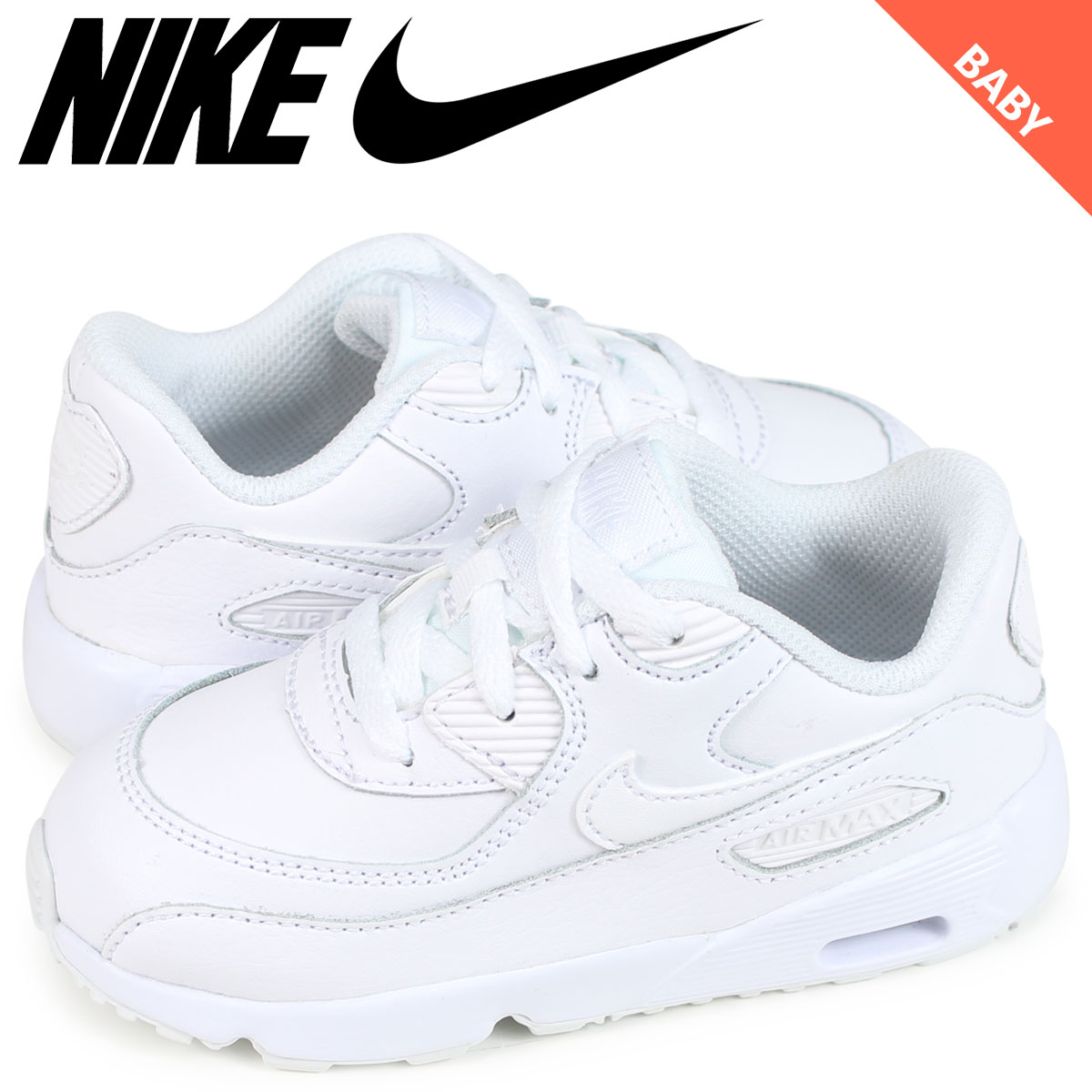 sale retailer c3926 38cee NIKE AIR MAX 90 LEATHER TD Kie Ney AMAX 90 baby sneakers 833,416-100 white