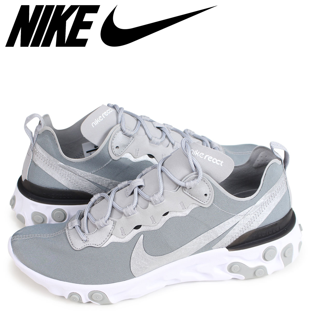 reputable site f781d 280f6 NIKE REACT ELEMENT 55 Ney drill act element 55 sneakers men silver  BQ6166-007