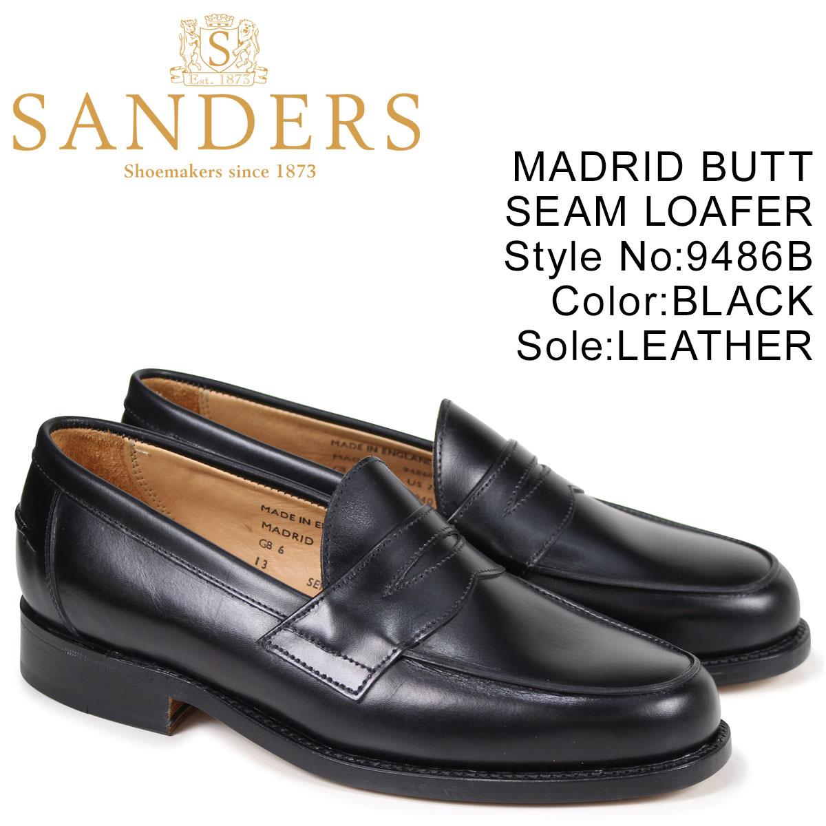 サンダース SANDERS ペニーローファー MADRID BUTT SEAM LOAFER メンズ ブラック 9486B
