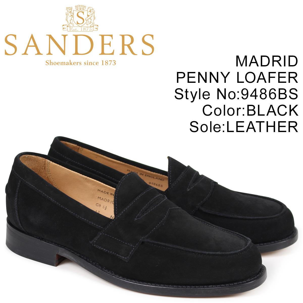 サンダース SANDERS ペニーローファー MADRID PENNY LOAFER メンズ スエード ブラック 9486BS