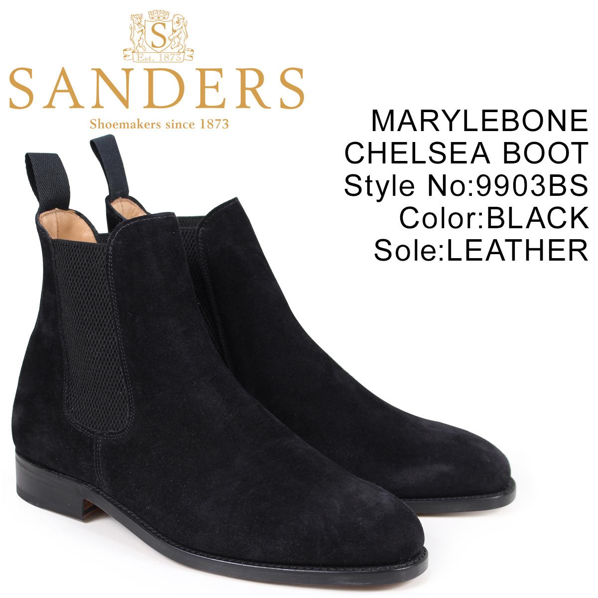サンダース SANDERS サイドゴア ブーツ MARYLEBONE CHELSEA BOOT メンズ スエード ブラック 9903BS