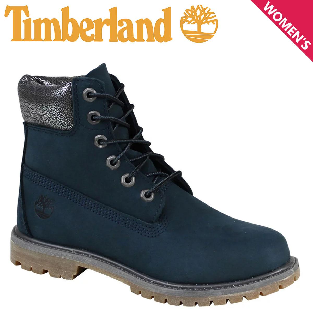 ティンバーランド レディース ブーツ 6インチ Timberland JUNIOR 6INCH PREMIUM WATERPROOF BOOTS A196M Wワイズ プレミアム 防水 ネイビー