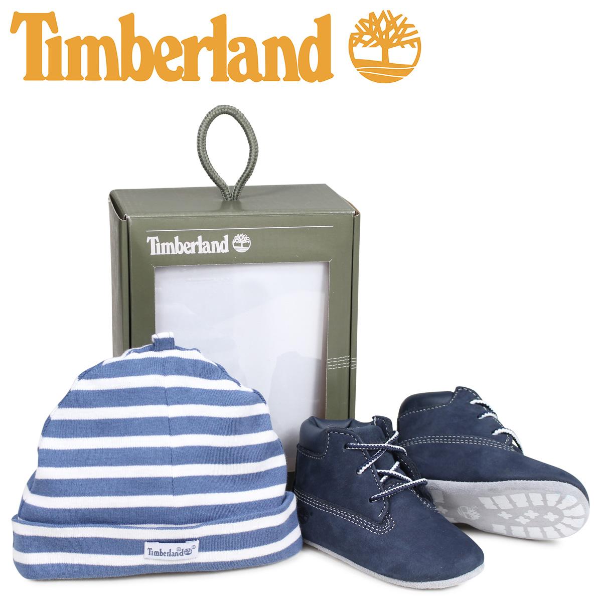 ティンバーランド Timberland ブーツ シューズ キャップ 帽子 ニット帽 セット キッズ ベビー INFANT CRIB BOOTIES CAP SET ギフト ネイビー A1LU3