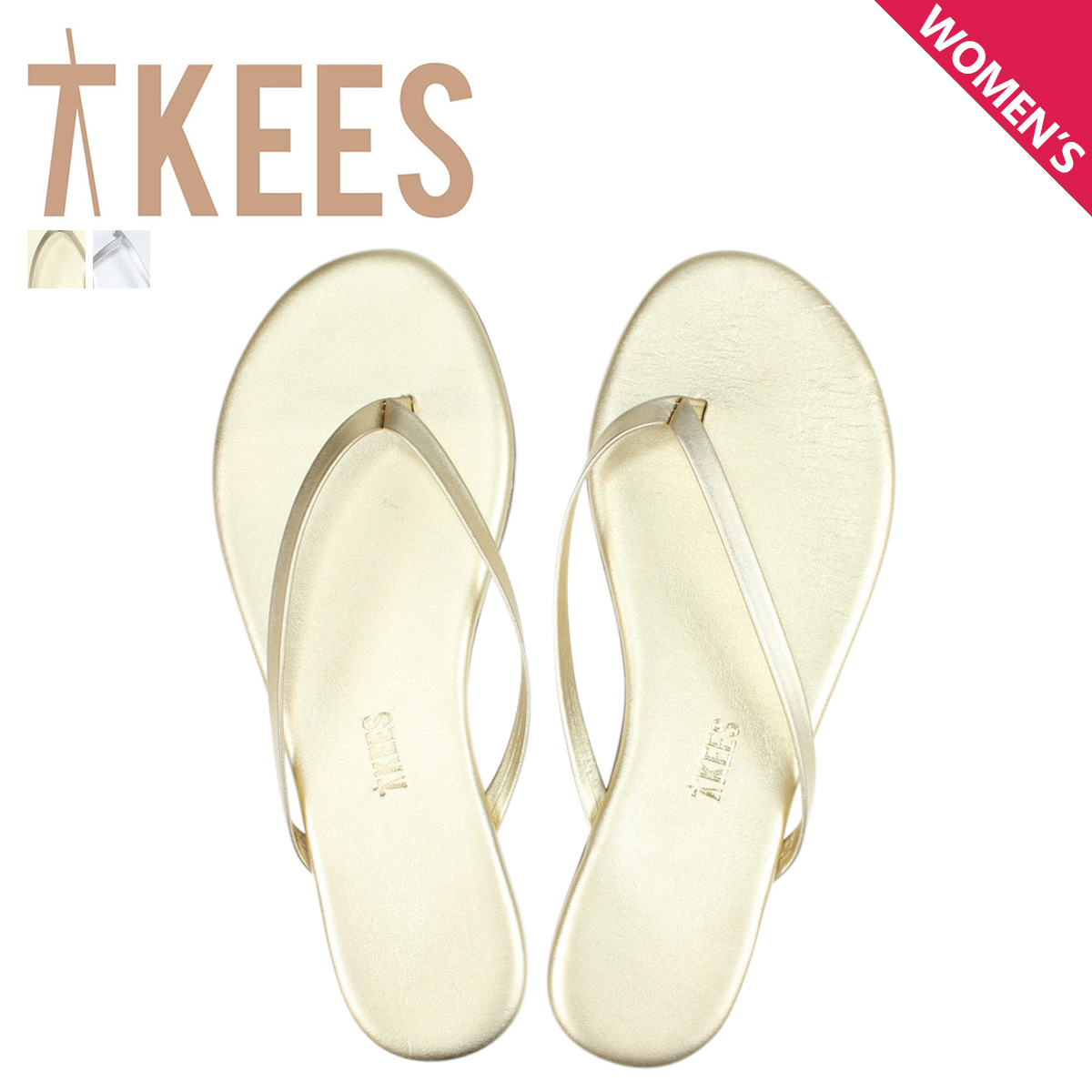 3d52e4dc1431 ティキーズ Tkees sandals beach sandal Lady s HIGHLIGHTERS leather gold silver   6 5 Shinnyu load