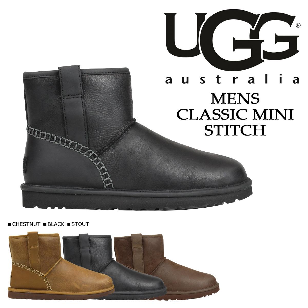 UGG アグ ムートンブーツ メンズ クラシック ミニ MENS CLASSIC MINI STITCH 1008621 レザー