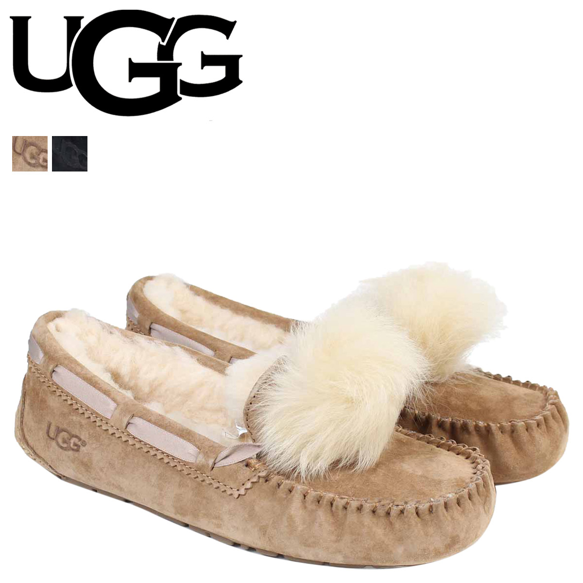f49111d999a UGG アグモカシンダコタレディースムートンシューズ WOMENS DAKOTA POM POM 1019015 sheepskin suede  [11/15 Shinnyu load]