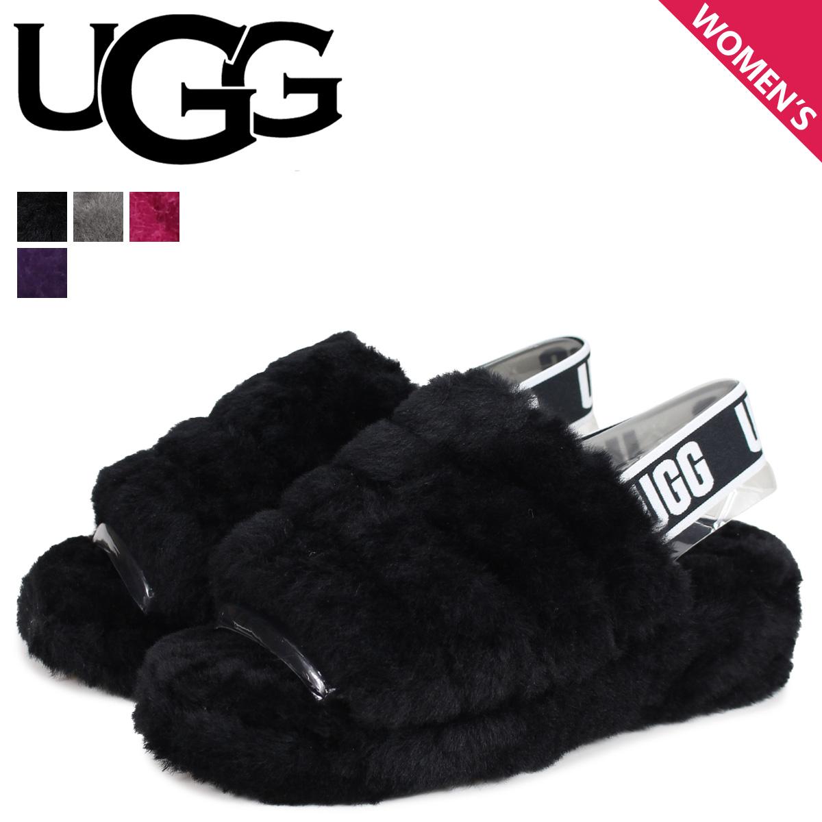 03cc9d044 UGG アグサンダルムートンフラッフイヤースライドレディース WOMENS FLUFF YEAH SLIDE black charcoal black  1095119