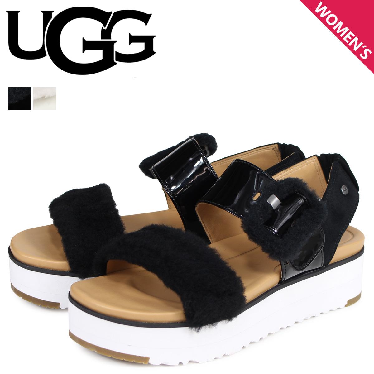 【お買い物マラソンSALE】 UGG アグ サンダル ストラップサンダル フラッフチェラ レディース WOMENS FLUFFCHELLA SANDAL ブラック ホワイト 黒 白 1099815