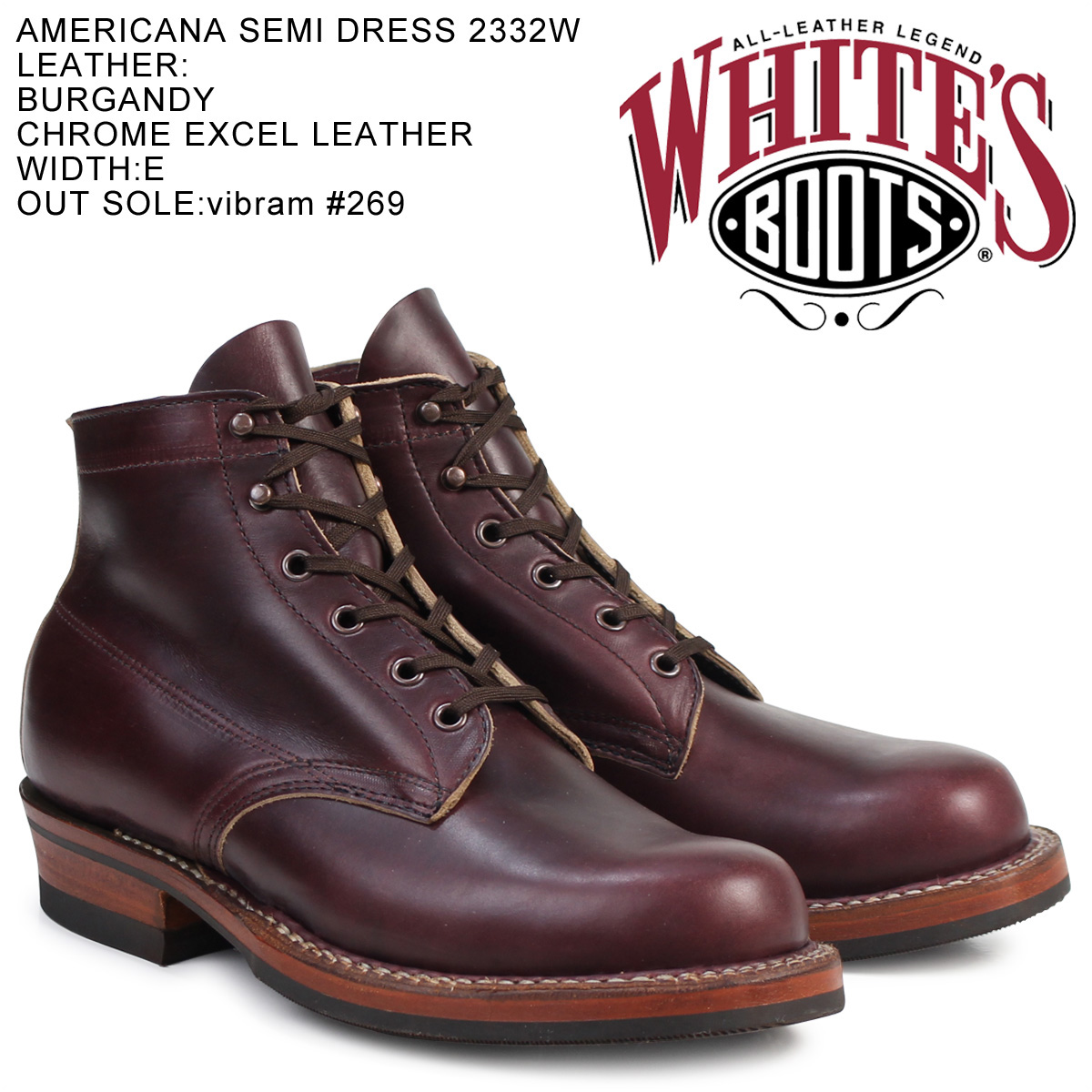 «Reservation products» «around the 10 / 23 stock» whites boots WHITE's BOOTS 5 inch Americana semi boots 2332 W 5inch AMERICANA SEMIDRESS BOOTS E wise BURGUNDY CHROME EXCEL mens