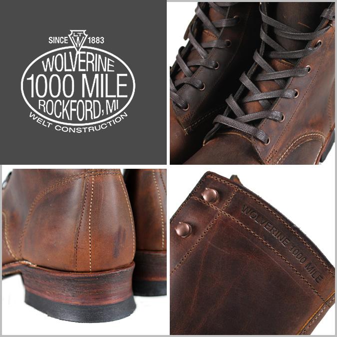[卖出] 金刚狼狼獾 1000 英里赛车靴 [棕色] W05297 8LACE 脚趾引导皮革男人狼獾