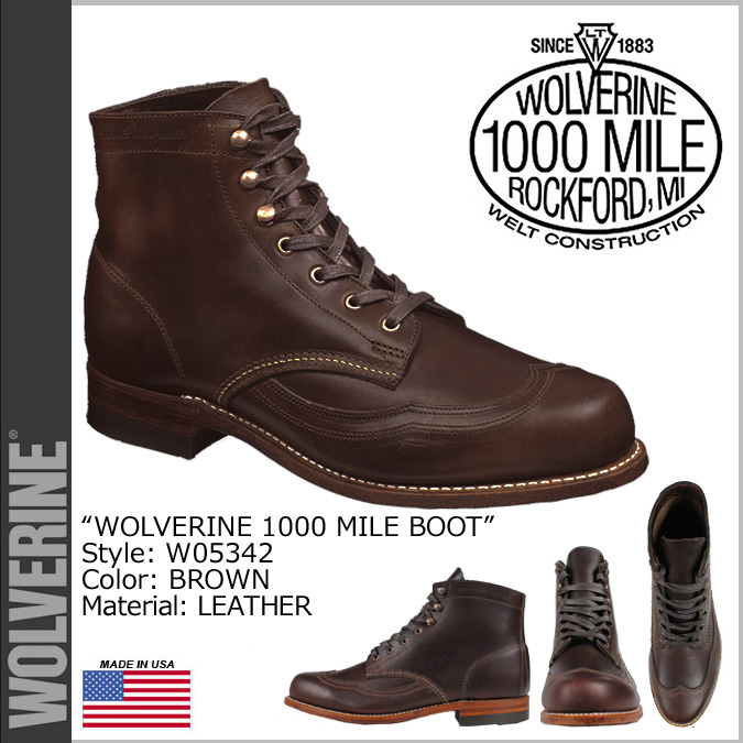 Wolverine WOLVERINE 1000 mile wing chip boots W05342 1000MILE WINGTIP BOOTS ADDISON leather men's Wolverine