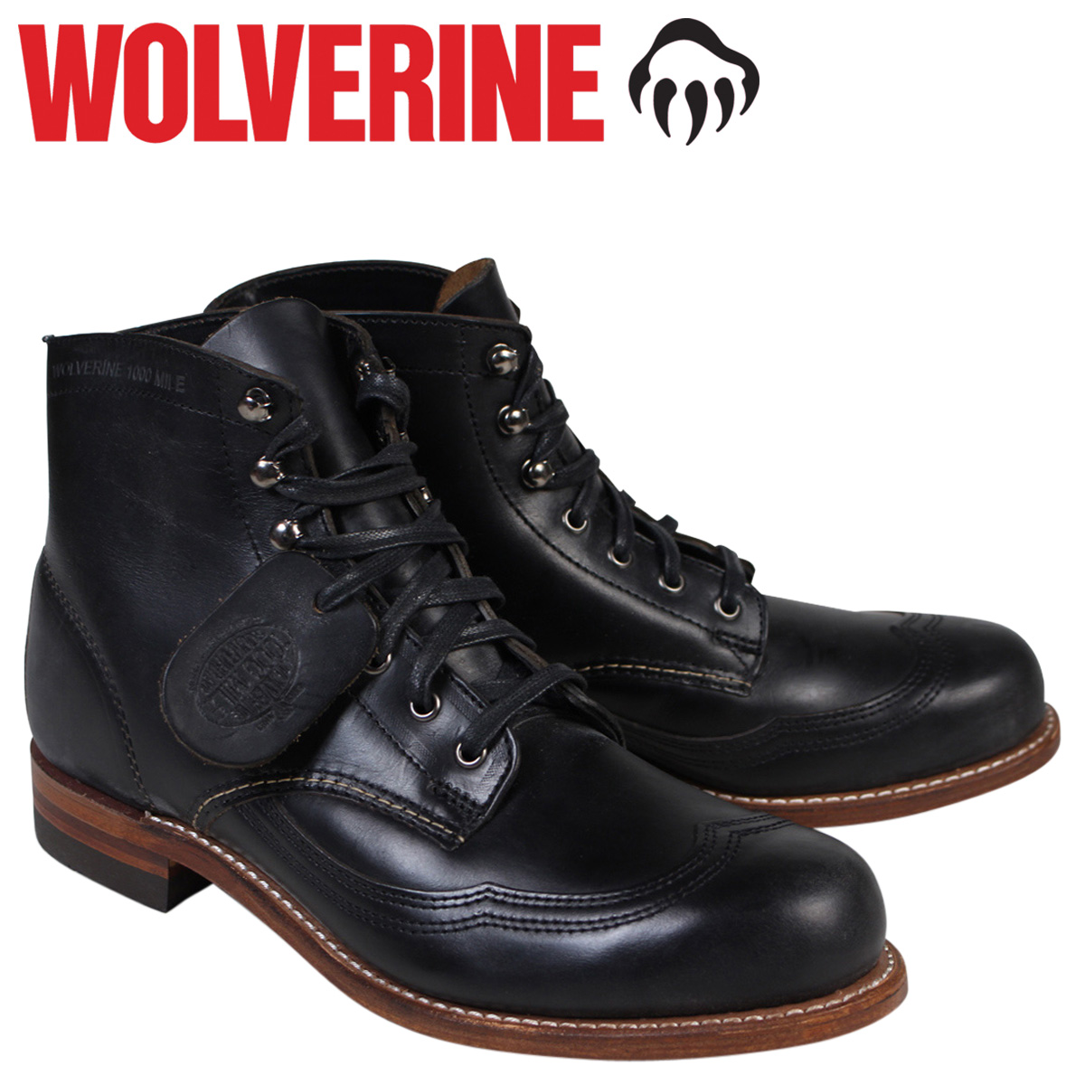ウルヴァリン 1000マイル ブーツ WOLVERINE 1000MILE ADDISON WINGTIP BOOT Dワイズ W05344 ブラック ウィングチップ ワークブーツ メンズ