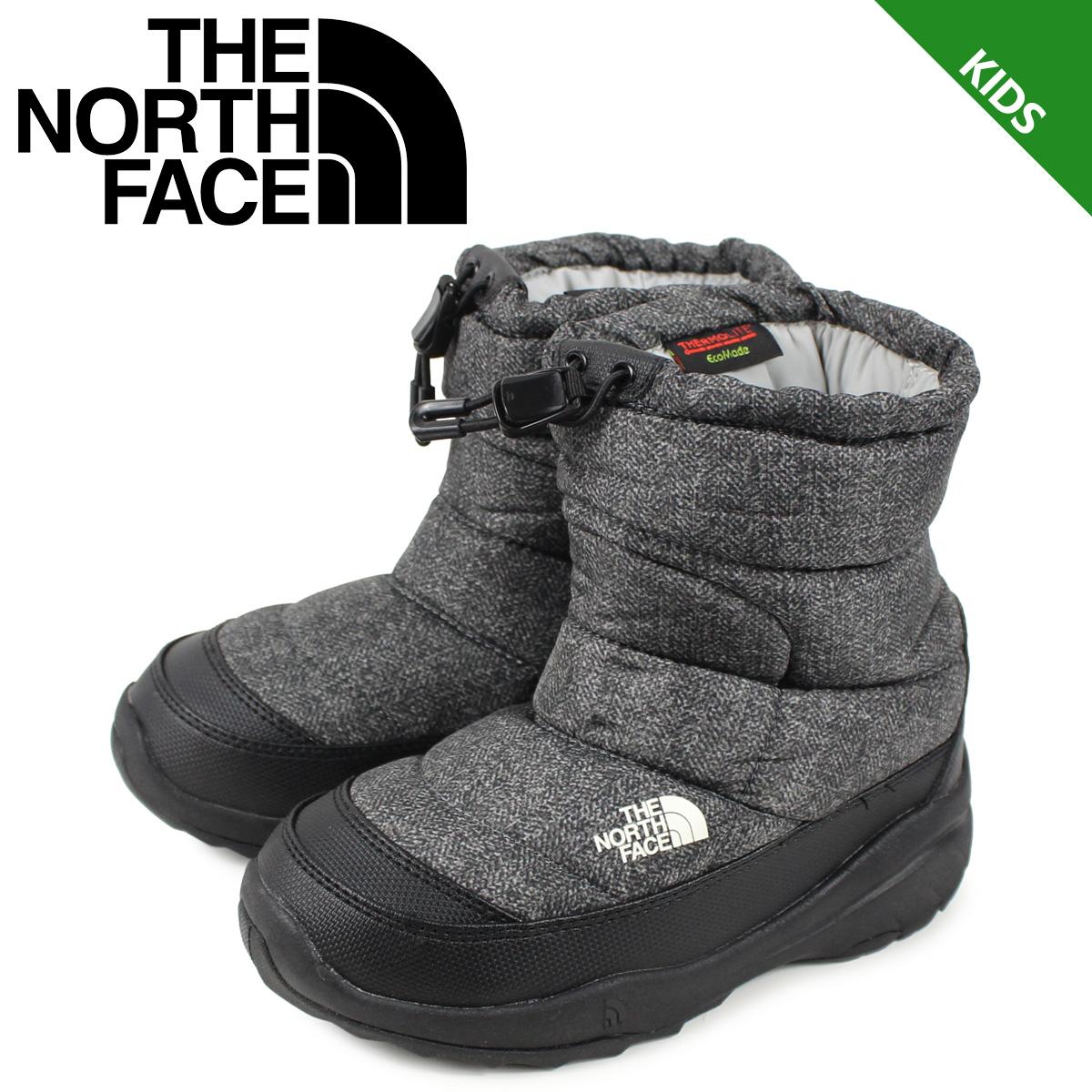 ノースフェイス THE NORTH FACE ヌプシ ブーティー ウォータープルーフ ブーツ キッズ K NUPTSE BOOTIE WP チャコール グレー NFJ51980