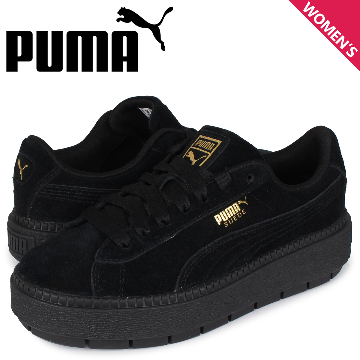 プーマ PUMA スエード プラットフォーム スニーカー レディース スウェード 厚底 SUEDE PLATFORM TRACE WMNS ブラック 黒 36583001