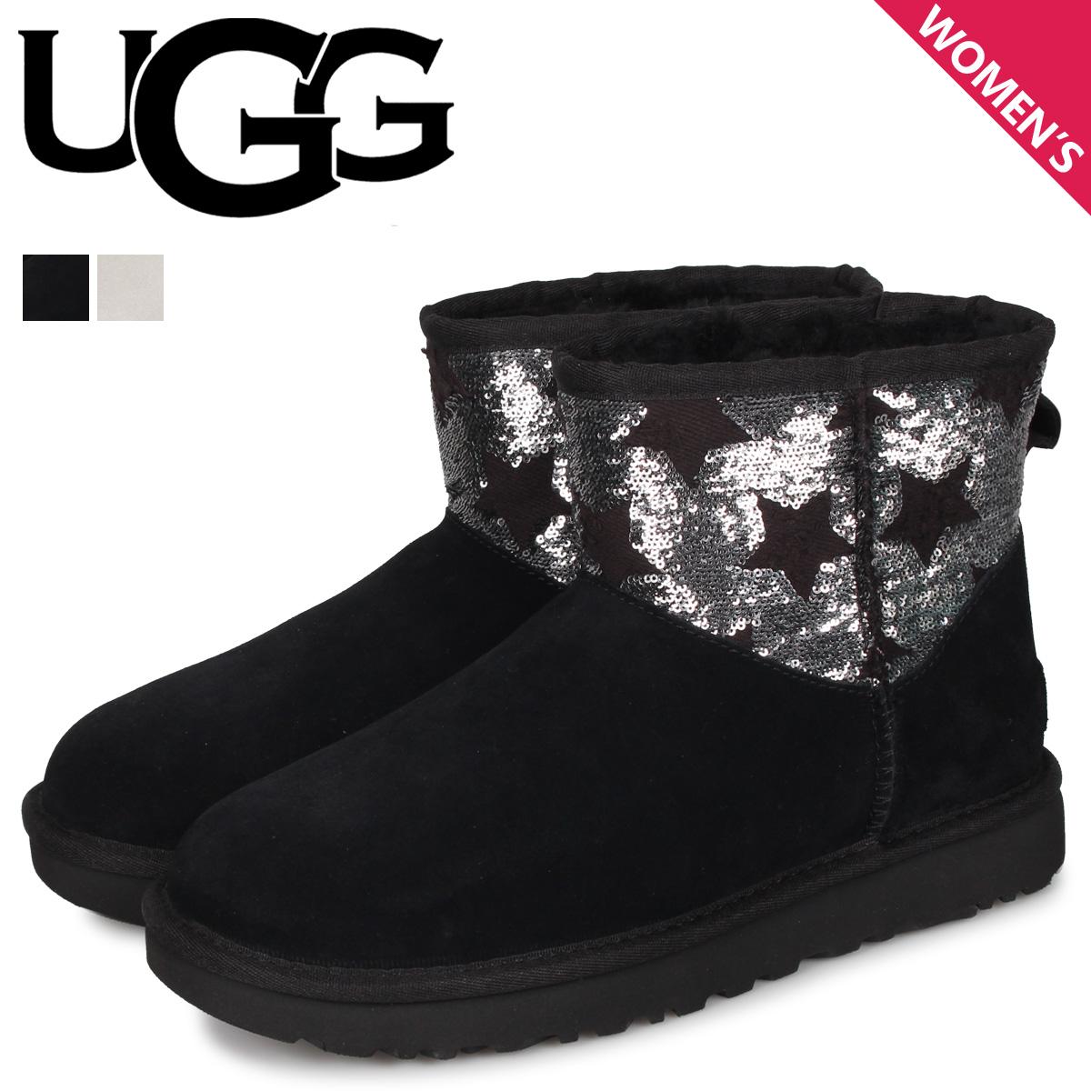 UGG アグ ムートン ブーツ クラシック ミニ シークイン スターズ レディース CLASSIC MINI SEQUIN STARS ブラック グレー 黒 1109441