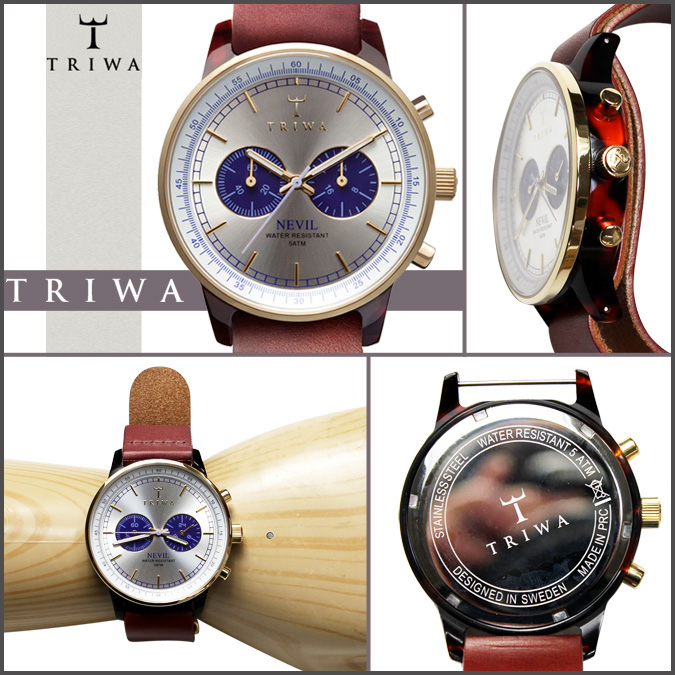Tri TRIWA×Tarnsjo watch NEAC 109 BLUE FACE NEVIL leather mens Womens 2013 new