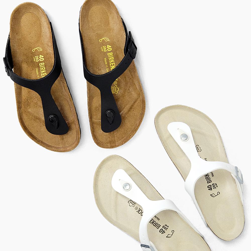 BIRKENSTOCK Birkenstock GIZEH Giza ladies mens WHITE white white BLACK Black Black Sandals wide narrow wide