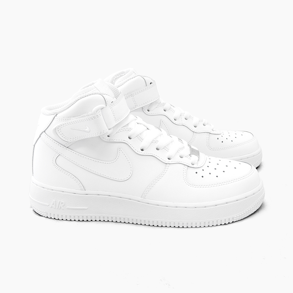 NIKE AIR FORCE 1 MID GS 314195 113 WHITE Nike Air Force 1 mid women's kids size air force 1 air force air force 1 air white all white white sneakers