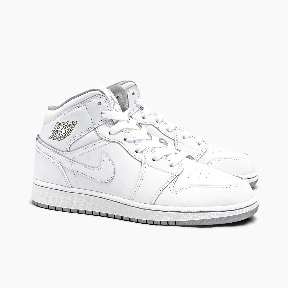 new lower prices stable quality temperament shoes NIKE AIR JORDAN 1 MID BG Nike Air Jordan 1 mid [554,725-112  WHITE/WHITE/WOLF GREY] WOMEN'S GS Lady's sneakers white gray white ash Air  Jordan oar ...