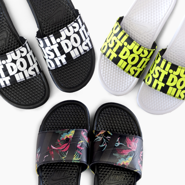 f1950b370de3 ナイキベナッシ NIKE BENASSI JDI PRINT 631261  023 024 103  whole pattern AOP floral  design JUST DO IT logo print sandals Lady s men rest room sandals ...