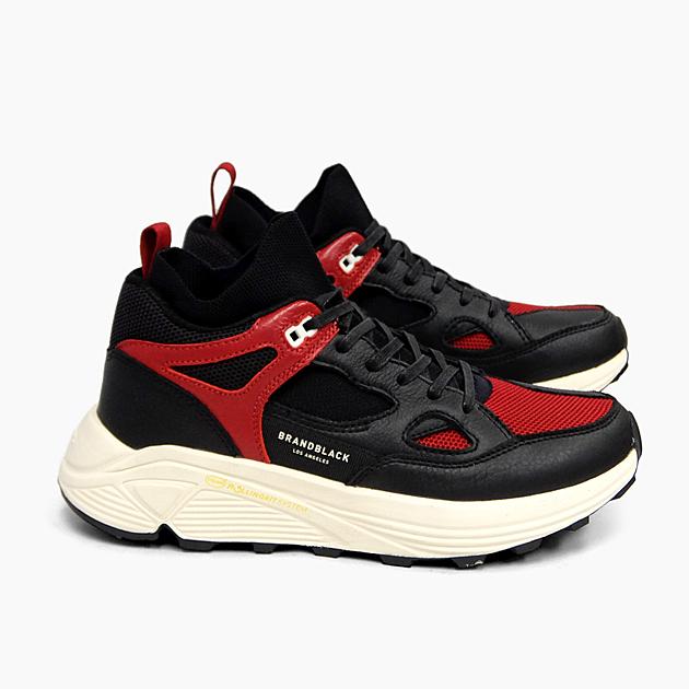 【並行輸入品】ブランドブラック メンズ スニーカー オーラ BRANDBLACK AURA [BLACK/RED 421BB-BKRD] ブランド ブラック 黒赤 靴 レザー ニット ダッドスニーカー VIBRAM ビブラムソール プレゼント