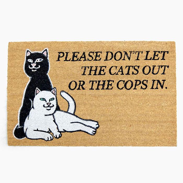 RIPNDIP リップンディップ ドアマット DON'T LET THE COPS IN DOOR MAT [BROWN RND4056] 玄関マット カーペット インテリア 黒猫 白猫 ネコ RIP N DIP リップン ディップ