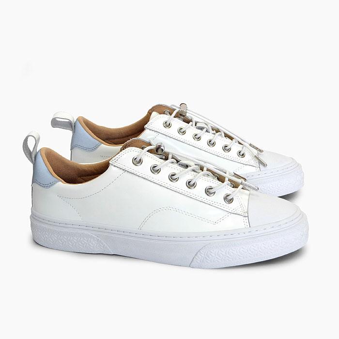 SLACK CLUDE GL [WHITE/WHITE SL1705102] スラック ローカット ガラスレザー スニーカー 白 オールホワイト 靴 メンズ レディース 革 リフレクター コードロック
