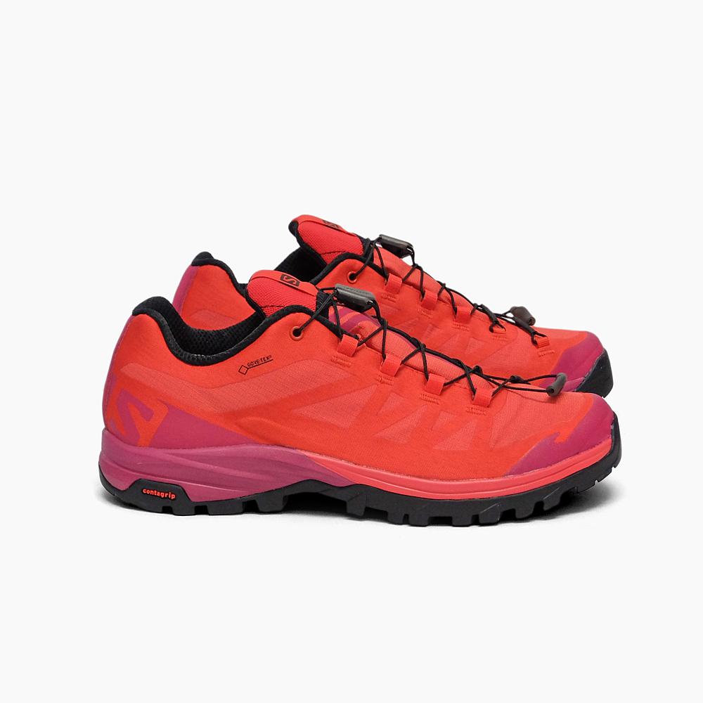 SALOMON W OUTPATH GTX L40001800 サロモン レディース スピードハイキング用シューズ アウトパス ゴアテックス 軽量 ハイキング 防水 ローカット シューズ ウィメンズ 女性用 靴 アウトドア 登山 レッド 赤 ピンク