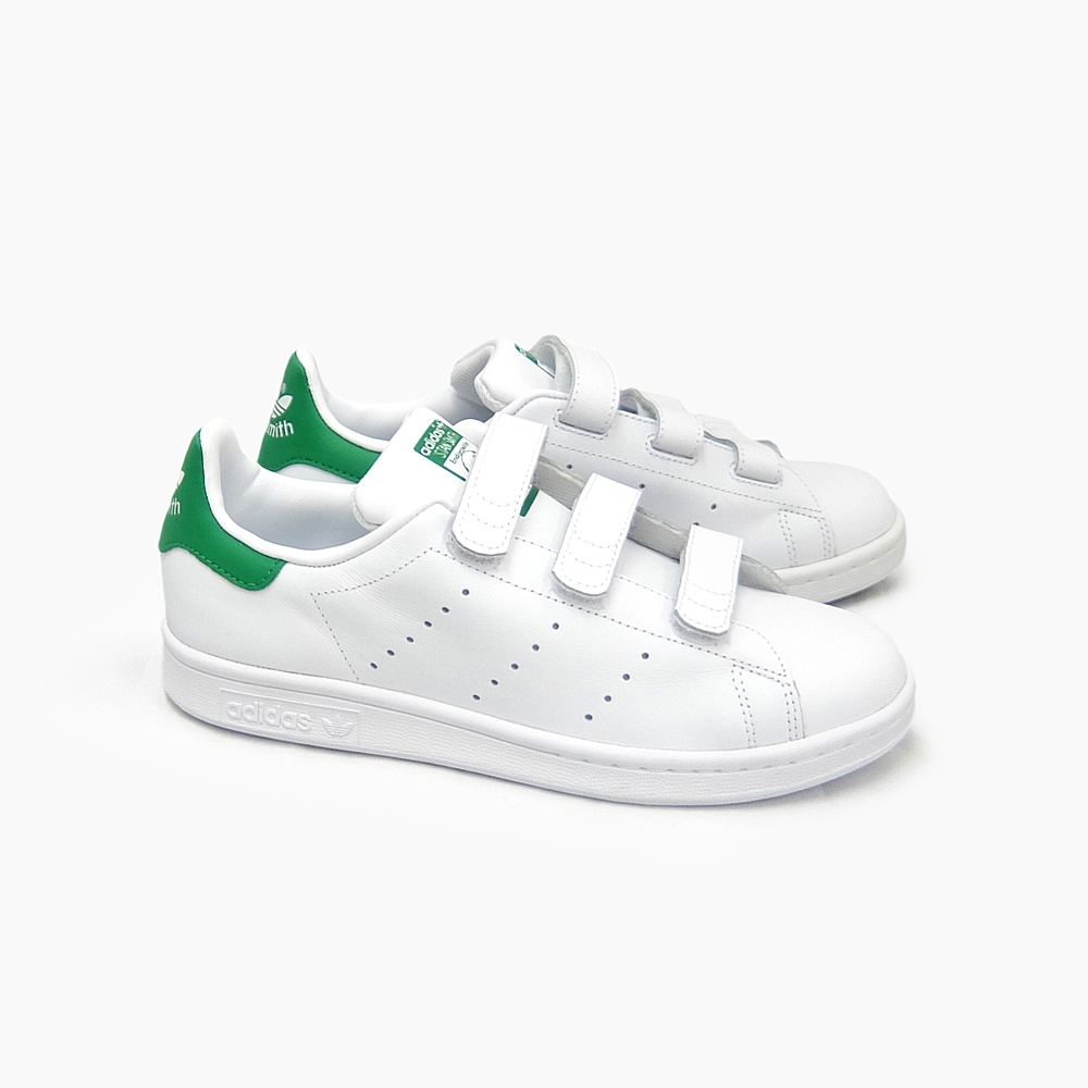 9e74ff2a4624 ADIDAS STAN SMITH CF J adidas Stan Smith CF J Womens Velcro S82702  WHITE WHITE GREEN