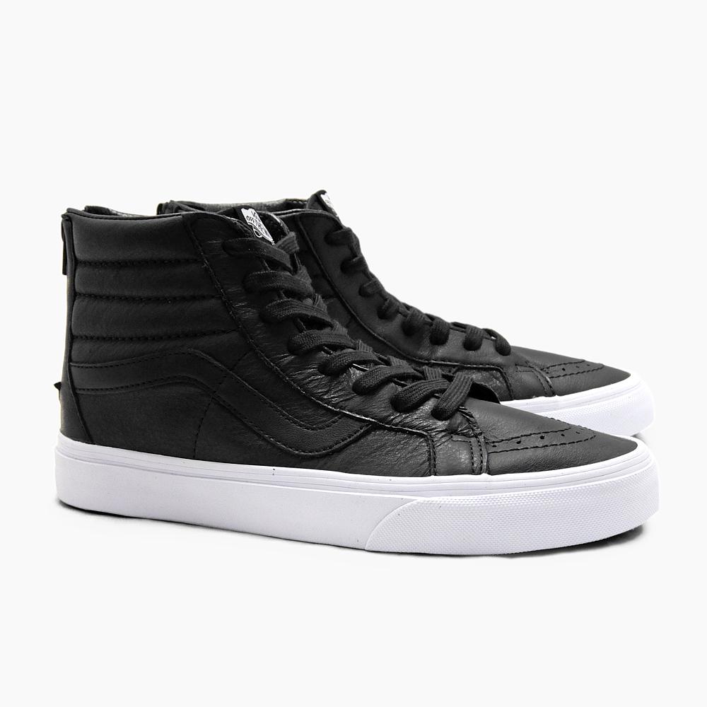 vans black leather sk8 hi