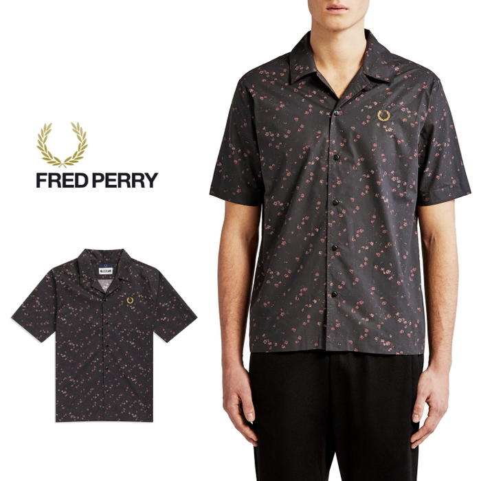 f1cb0e77d Sneakersoko  Fred Perry FRED PERRYware miles Kane Liberty print bowling shirt  black SM5151-102  WA