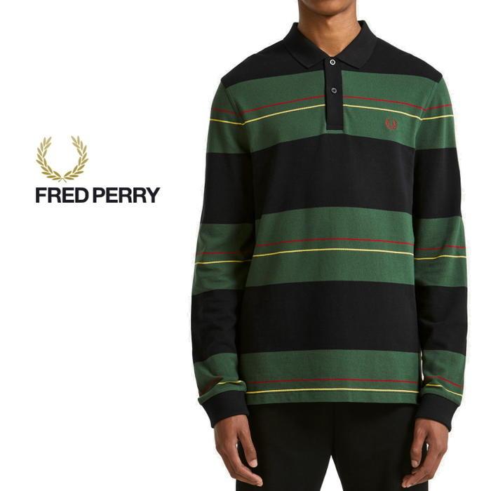 フレッドペリー FRED PERRY ポロシャツ パネルストライプ ピケシャツ ネイビー M5506-608 [WA]【FNOG】