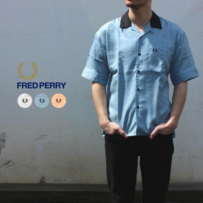 フレッドペリー FRED PERRY ウェア オープンカラー半袖シャツ F4508 10(ホワイト) 12(スカイ) 35(アプリコット) [WA]【FNOI】, MONCHUA 780babdf