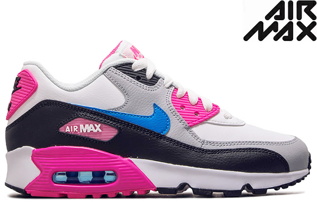 It is an NIKE AIR MAX 90 LEATHER GS 833,376 107 WHITEBLACKPINK BLASTPHOTO BLUE Kie Ney AMAX 90 LTR (GS) leather white pink blue Lady's girls