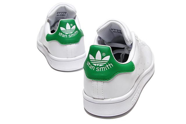 小adidas Originals STAN SMITH J M20605 WHITE/WHITE/GREEN阿迪达斯原始物Stan Smith白绿色女士女孩子运动鞋
