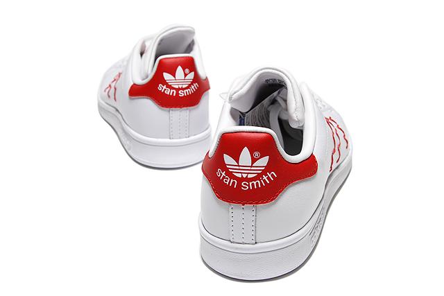 "adidas Originals STAN SMITH W""ZIGZAG""S75138 Running WHITE/WHITE/COLLEGIATE RED阿迪达斯原始物Stan Smith妇女弯弯曲曲白红女士女孩子运动鞋"