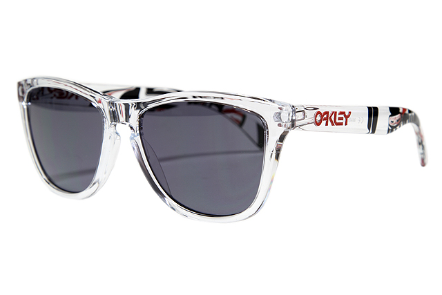 clear oakley frogskins 2ay1  OAKLEY FROGSKINS SUNGLASSES 24-338 DANNY KASS SIGNATURE SERIES POLISHED  CLEAR/GREY LENS Oakley