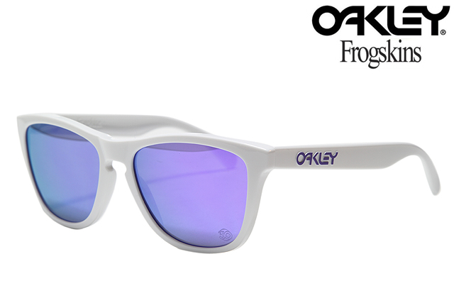 OAKLEY FROGSKINS SUNGLASSES HERITAGE COLLECTION 901335 POLISHED WHITE/VIOLET  IRIDIUM Oakley frog skin limited edition