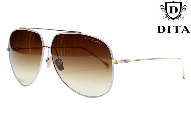 DITA SUNGLASS CONDOR 21005B SATIN WHITE&SHINY 18 GOLD节食者CONDOR 21005B太阳眼镜神鹰泪珠白18钱