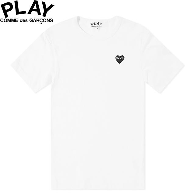 COMME des GARCONS PLAY BASIC LOGO MENS BLACK HEART T-SHIRT WHITE & BLACK P1T064コムデギャルソン ベーシックロゴ メンズ ブラック ハート Tシャツ ホワイト 半袖 SHORT SLEEVE TEE
