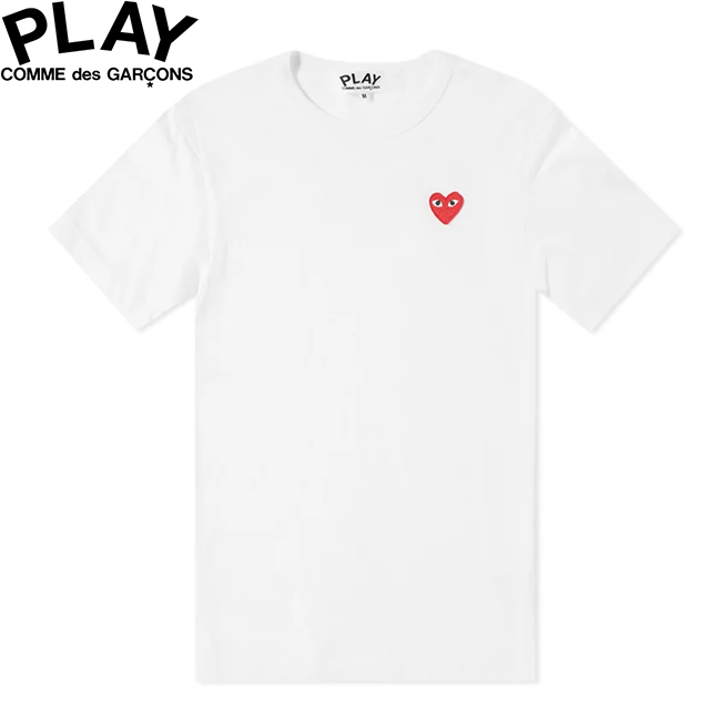 COMME des GARCONS PLAY BASIC LOGO MENS RED HEART T-SHIRT WHITE & RED P1T108コムデギャルソン ベーシックロゴ メンズ レッド ハート Tシャツ ホワイト 半袖 SHORT SLEEVE TEE