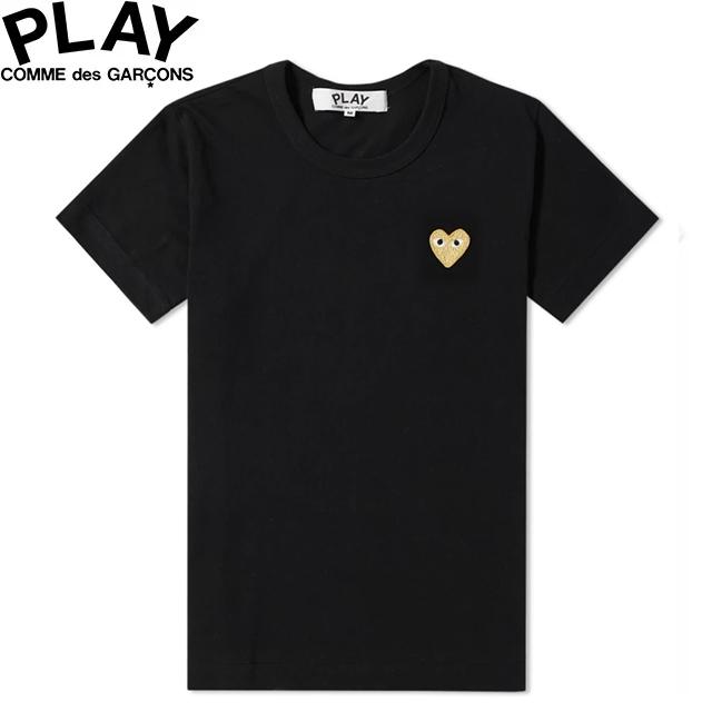 COMME des GARCONS PLAY WOMENS BASIC LOGO GOLD HEART T-SHIRT BLACK & GOLD P1T215コムデギャルソン ベーシックロゴ ウィメンズ レディース ゴールド ハート Tシャツ 半袖 TEE