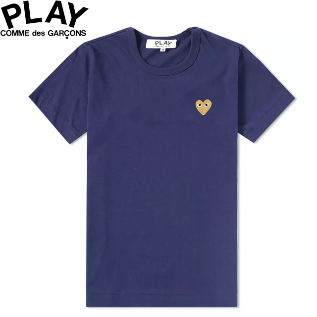 COMME des GARCONS PLAY WOMENS BASIC LOGO GOLD HEART T-SHIRT NAVY & GOLD P1T215コムデギャルソン ベーシックロゴ ウィメンズ レディース ゴールド ハート Tシャツ 半袖 TEE