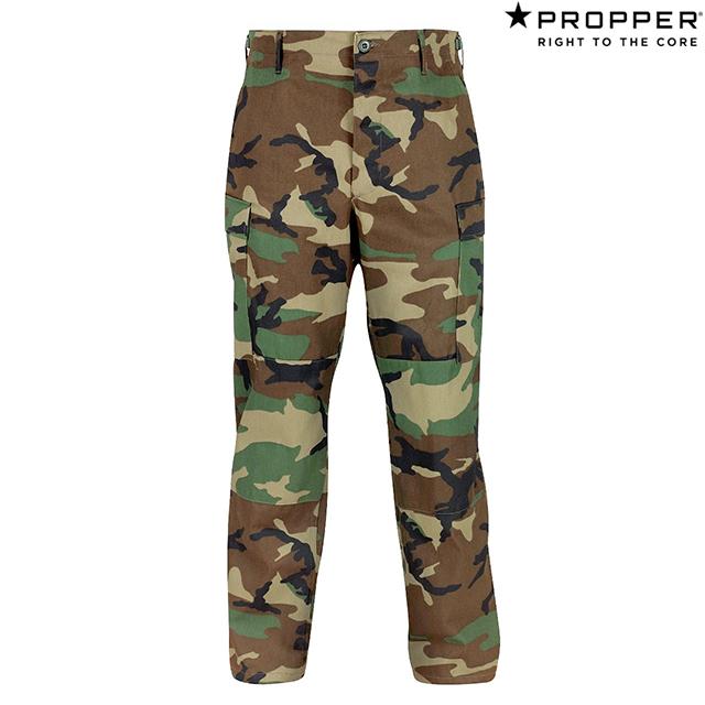 Propper BDU Trouser Button Fly - 100% Cotton Ripstop F5201 Woodland Camo Shortプロッパー BDU トラウザー カーゴ アーミー ミリタリー パンツ ウッドランド カモ ショート 迷彩 アメリカ軍 キャンプ アウトドア