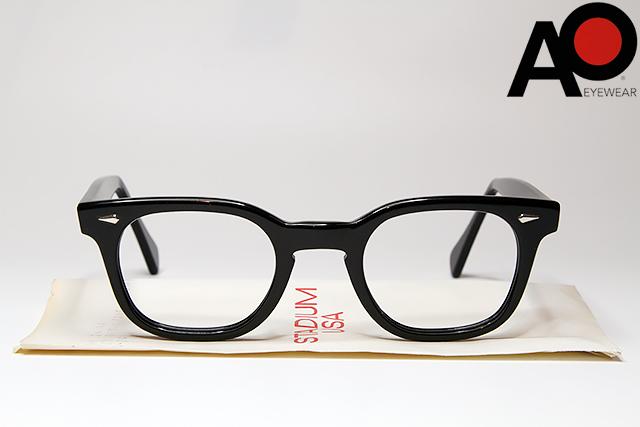 American Optical STADIUM 46-24 BLACKアメリカン オプティカル スタジアム ブラック デッドストック USA ウェリントン ヴィンテージ 眼鏡 メガネ