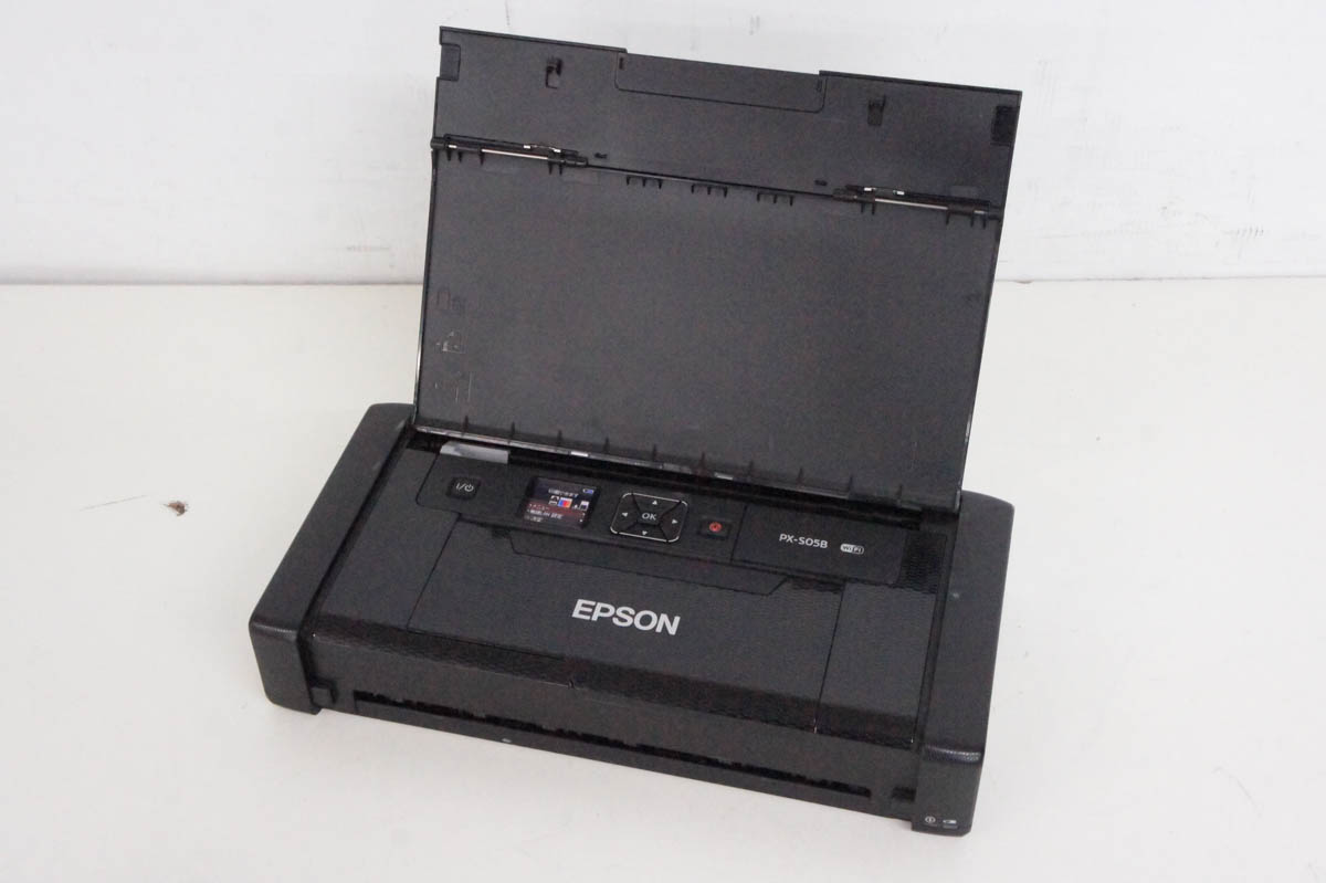 安心の90日保証 中古 EPSONエプソン Wi-Fi対応 バッテリー内蔵 モバイルA4プリンター 100%品質保証 ブラック PX-S05B 10%OFF