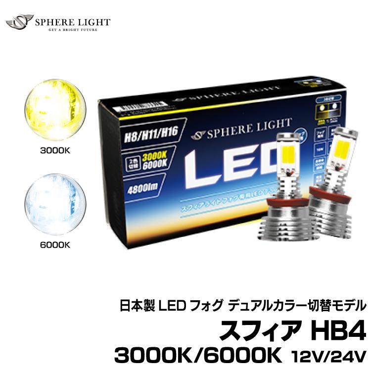送料無料 スフィアライト 日本未発売 日本製 LED フォグ デュアルカラー切替モデル スフィア 12V HB4 3000K SHKPG2 6000K 購買 24V フォグ用スフィアLED
