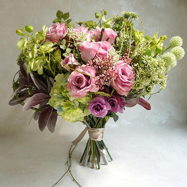 アーティフィシャルフラワー 花束 「ナチュラルローズブーケ」ブーケ 造花 インテリア 開店祝い 開業祝い 花