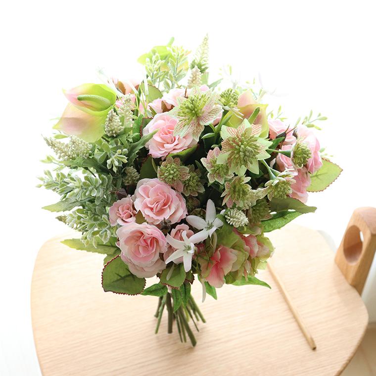 ウエディングブーケ ブーケ クラッチブーケ 造花 アーティフィシャルフラワー 花束 「ガーデンローズブーケ ライトピンク」